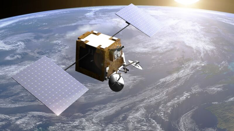 Illustration of a boxy satellite orbiting the Earth.