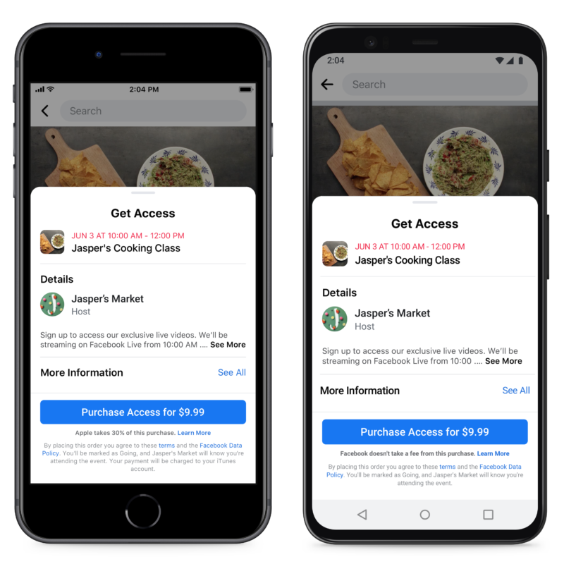 Facebook wanted the event purchase screen on iOS to look like the screenshot on the left. But Facebook says Apple nixed the idea.