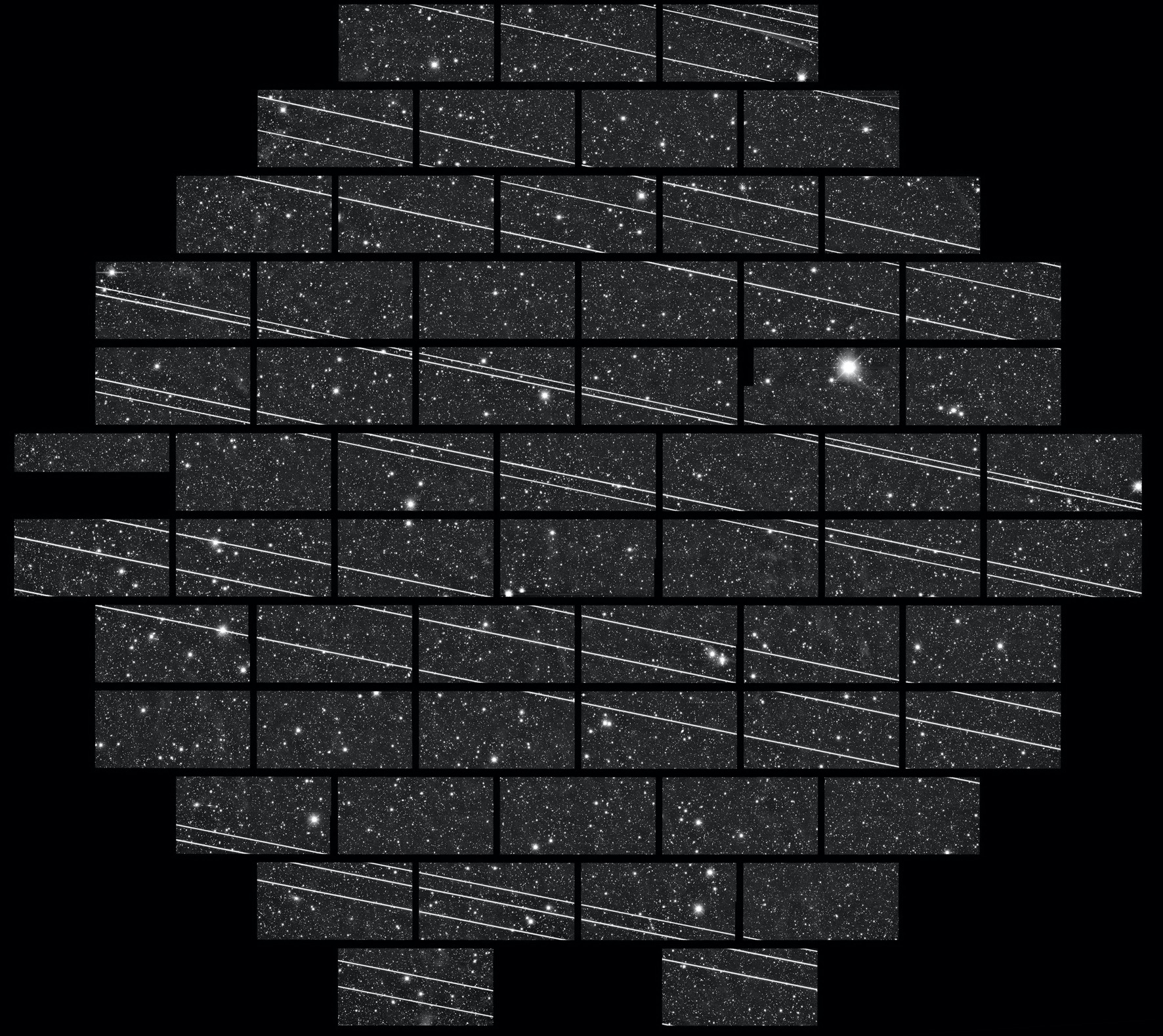 A wide-field image (2.2 degrees across) from the Dark Energy Camera on the Víctor M. Blanco 4-m telescope at the Cerro Tololo InterAmerican Observatory, taken on November 18, 2019. Several Starlink satellites crossed the field of view.