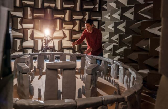 Acoustical engineer Trevor Cox works with a scale model of Stonehenge in a sound chamber at England's University of Salford.