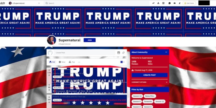 Mass hijacking spree takes over subreddits to promote Donald Trump – Ars Technica