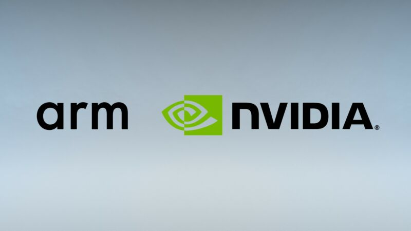 ARM logo combined with Nvidia logo.