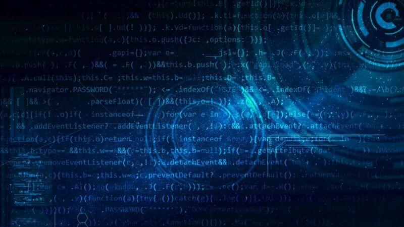 Stylized image of blue computer code on a black background.