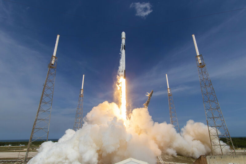 A Falcon 9 rocket launches the GPS III-03 mission in June, 2020.