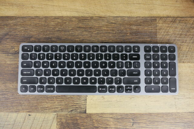 Satechi's Compact Backlit Bluetooth Keyboard. This finish in particular fits nicely with a Mac-based setup.