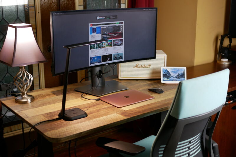 Vari Standing Desk with a monitor and laptop setup