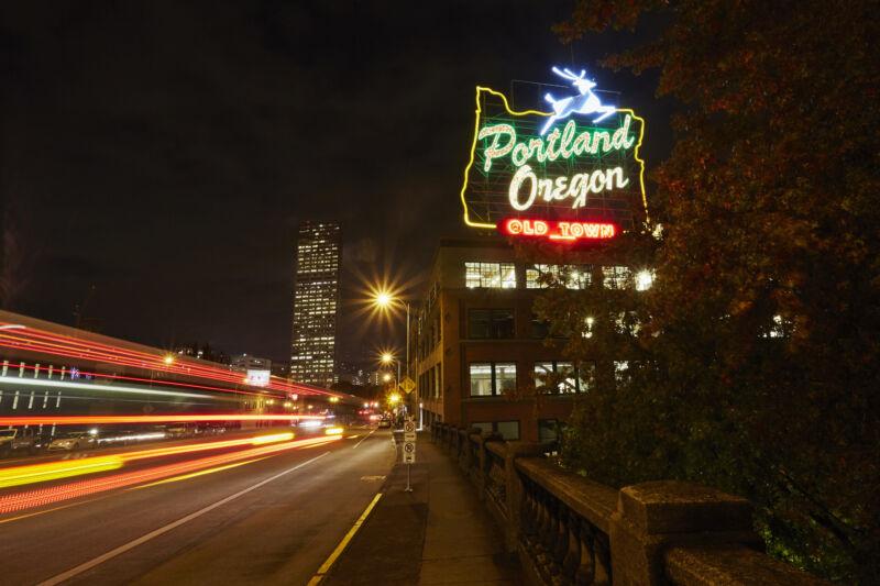 A helpful neon sign in Portland, Ore.