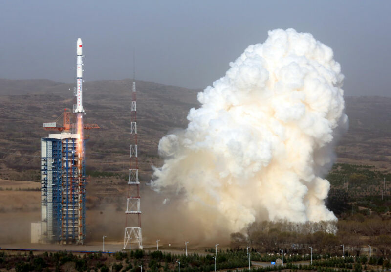 A Long March 4B carrier rocket lifts off from the Taiyuan Satellite Launch Center in Taiyuan in north China's Shanxi Province in April, 2019.