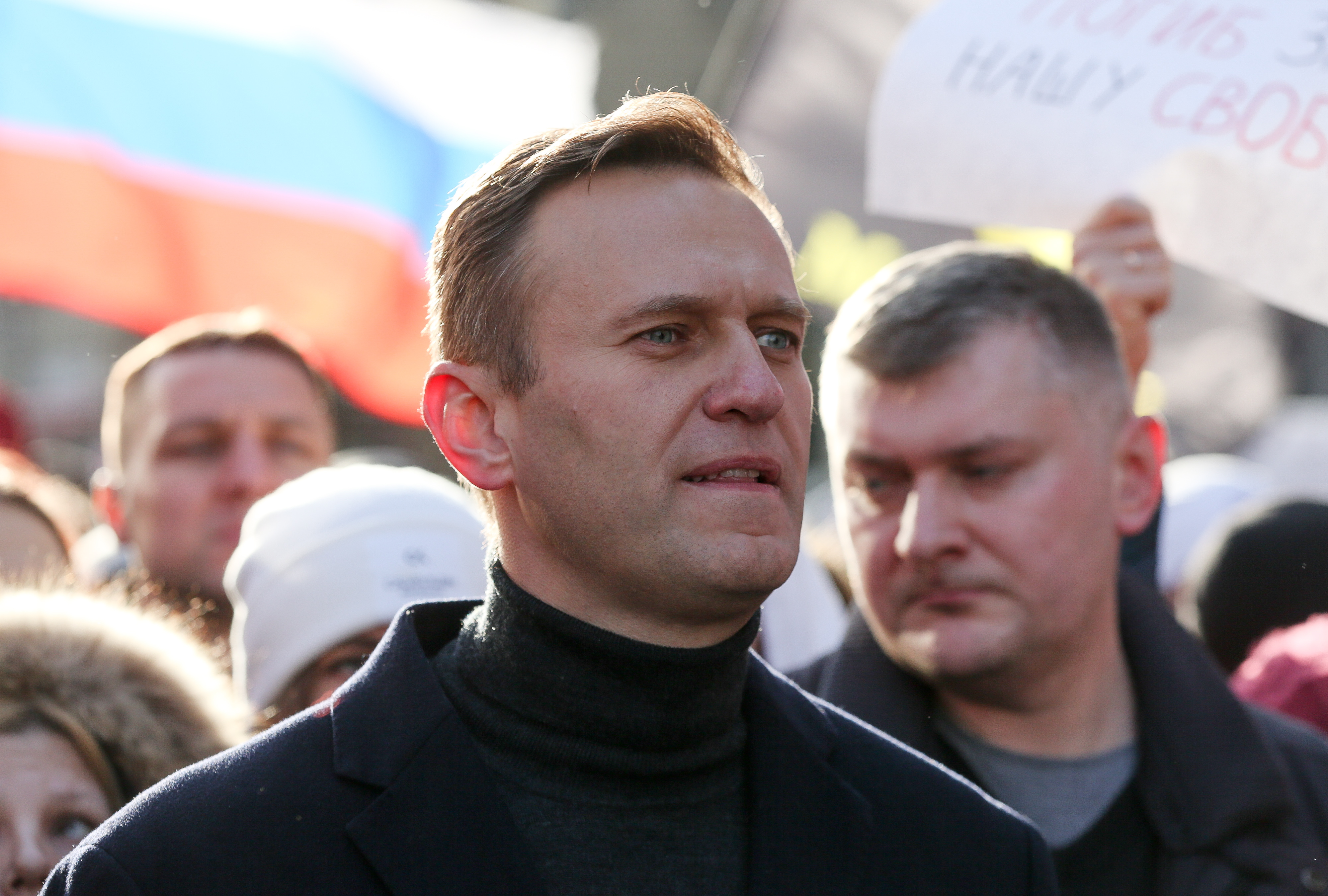 Alexey Navalny, Russian opposition leader, walks with demonstrators during a rally in Moscow, Russia, on Saturday, Feb. 29, 2019.