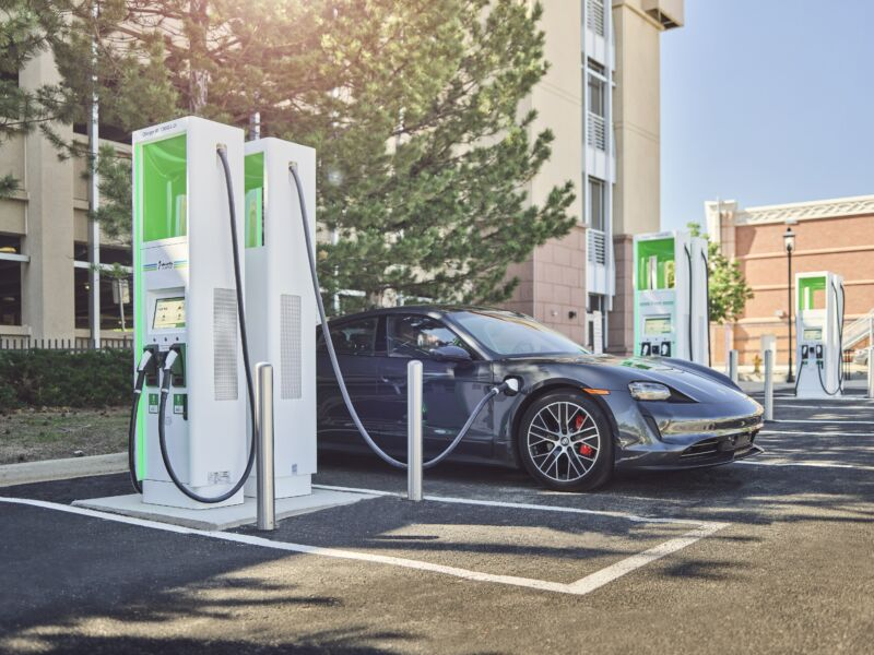 An Electrify America charging location in Colorado recharges a Porsche Taycan.