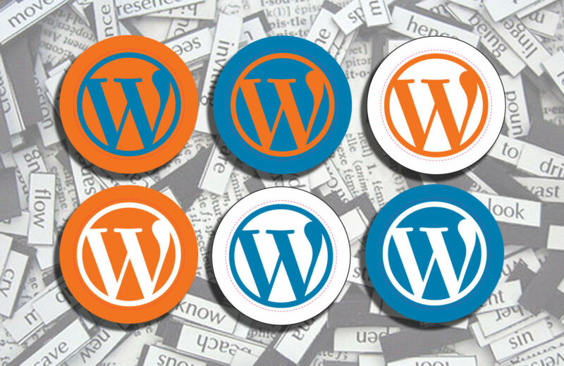 WordPress logos in various colors.