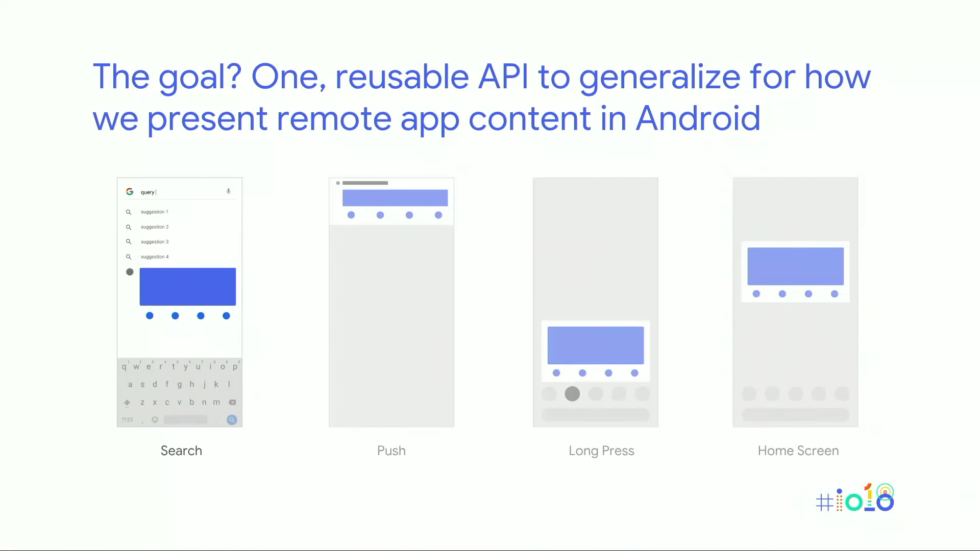 Google's Slices API slide, which shows a slice working as a search result, a notification, a long-press icon UI and a homescreen widget. It's like modular UI code.