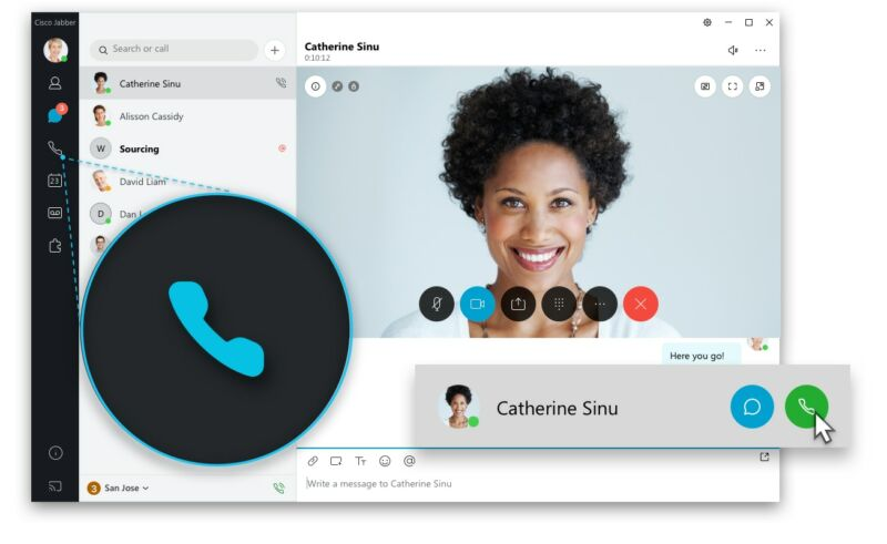 Promotional screenshot of collaborative video conferencing app.