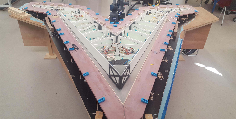 The Flying-V model under construction at TU Delft.