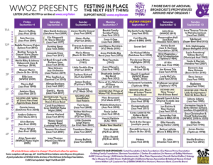 """The schedule for The Next Fest Thing. <a href=""""https://www.wwoz.org/640926-cubes-festing-place-next-fest-thing"""">Click here to enlarge</a>, click the image credit to head to WWOZ's Two-Week Archive to listen."""
