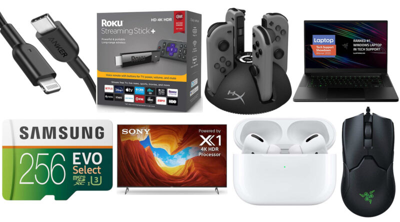 A photographic collage of consumer electronics.