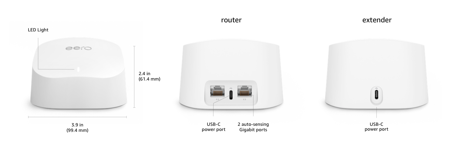 These are Eero 6 Router and Eero 6 Extender. The Eero 6 Pro Router is lower profile, with a wider base.