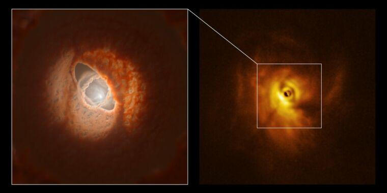 Three stars, warped rings may show how planets end up moving backward thumbnail