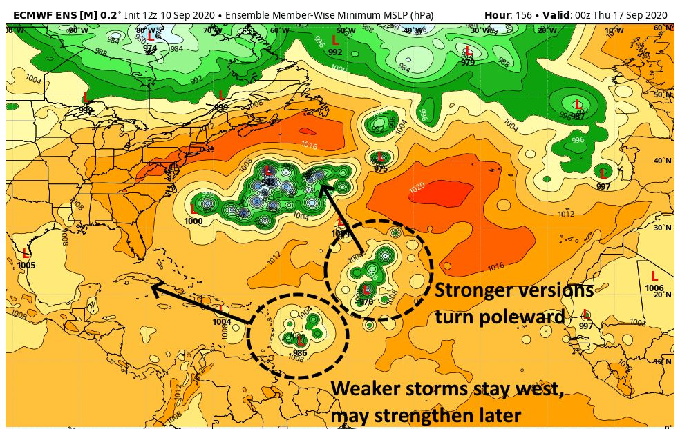 European ensemble forecast for Wednesday evening, September 16. This shows the potential outcomes for the African wave.