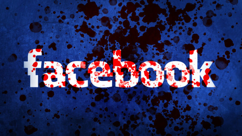 Facebook logo photoshopped to appear spattered with blood.