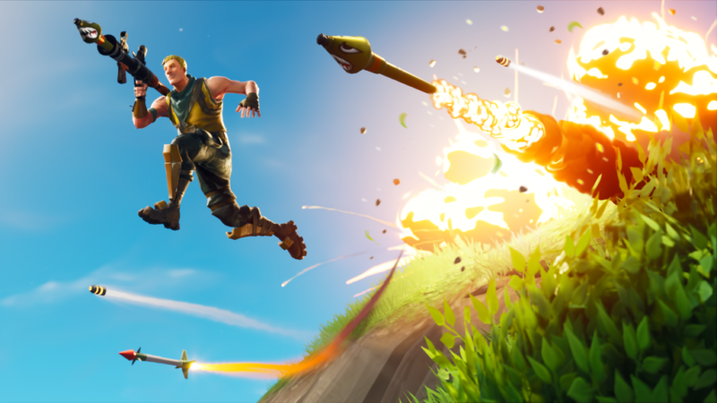Promotional image from video game shows a man with a rocket launcher leaping away from numerous explosions.