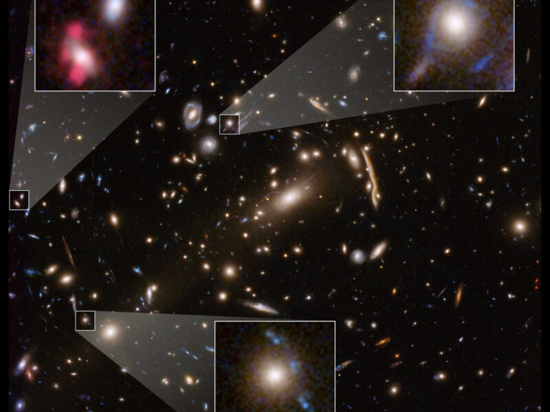 Image of a large group of galaxies, with inset magnified views of some of them.