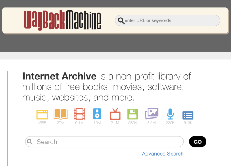 Screenshot of the Internet Archive's home page, describing the site as