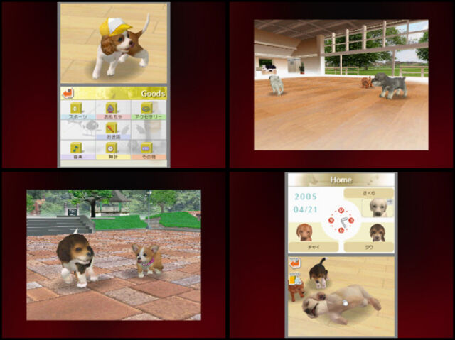A collection of very small screenshots of very good virtual doggos from 2005's unexpected hit, <em>Nintendogs</em>