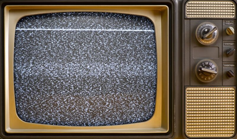 An old television set displaying static.