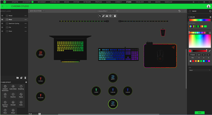 This screenshot of Synapse 3's interface shows a user configuring the RGB backlighting on all of their Razer gear.