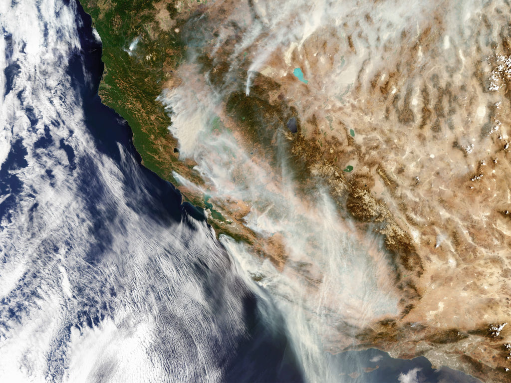 Satellite view of the California wildfires.
