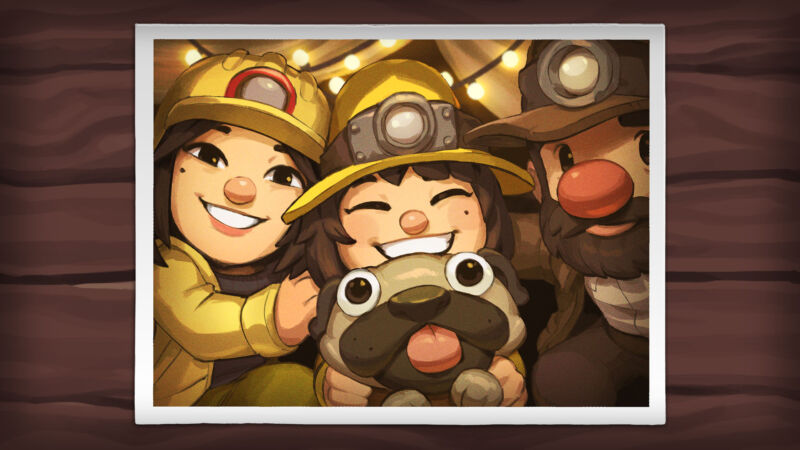 Ana (center) is the star of <em>Spelunky 2</em>, and she's on a search for her adventuring parents after they abandoned her to look for treasure on the Moon.