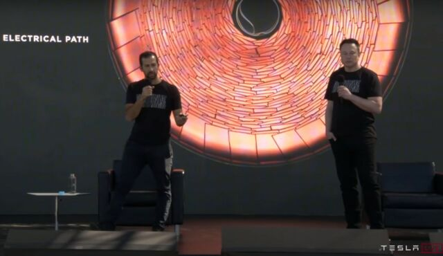 "Elon Musk and Drew Baglino present in front of a slide showing Tesla's new ""tabless"" cell design."