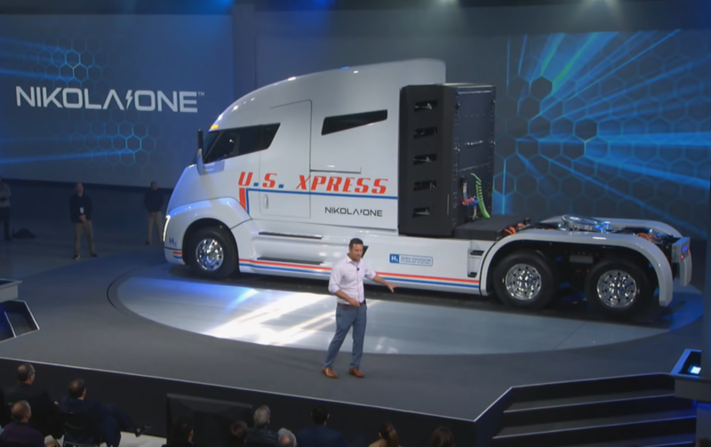 Nikola Chairman Trevor Milton unveils the Nikola One truck in December 2016.