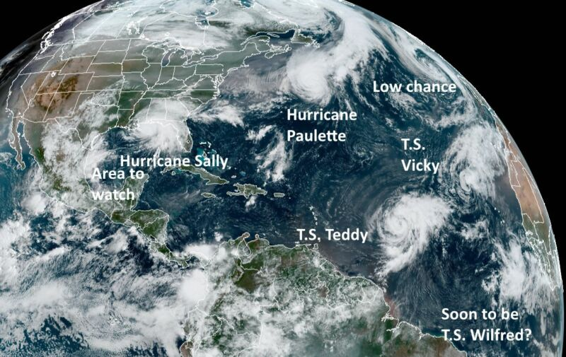 The Atlantic tropics at 11am ET on Tuesday, September 15.