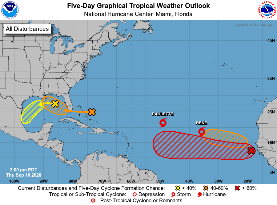 Five-day tropical outlook issued at 2pm ET Thursday.