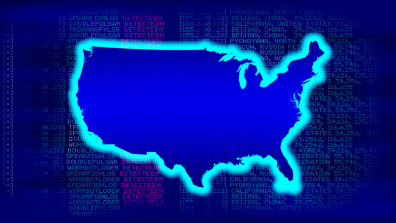 United States Map - State with glow with malicious code background in a 1970 dot matrix font on a computer screen. 8K Resolution ready.