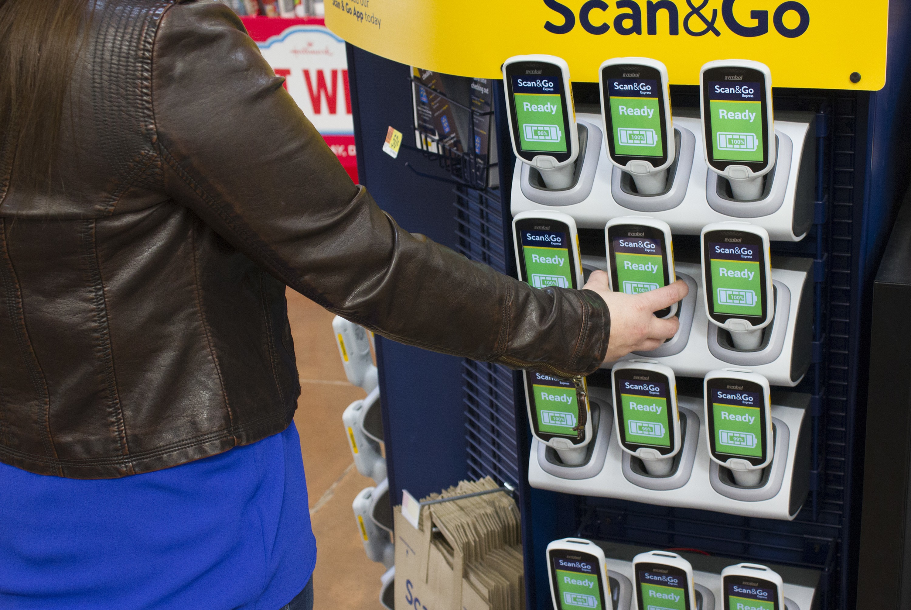 The 2018 trial of Scan&Go offered customers dedicated loaner devices in kiosks like these. The new Scan&Go will likely be via downloaded app only.