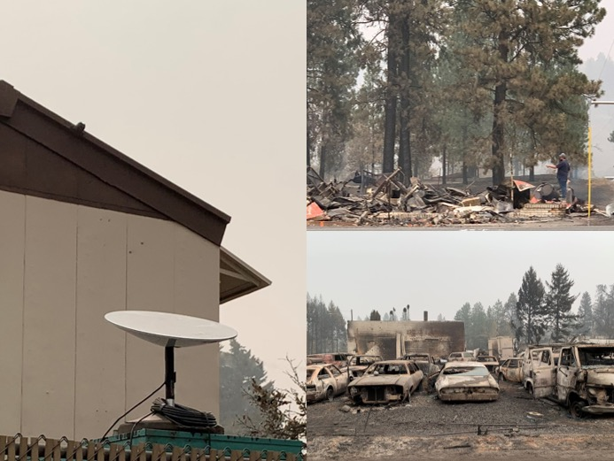 Pictures of a SpaceX broadband-satellite dish and wildfire-ravaged areas of Washington State.
