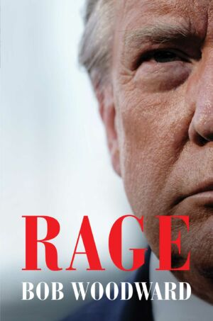 The cover of Bob Woodward's book about President Trump, titled <em>Rage.</em>