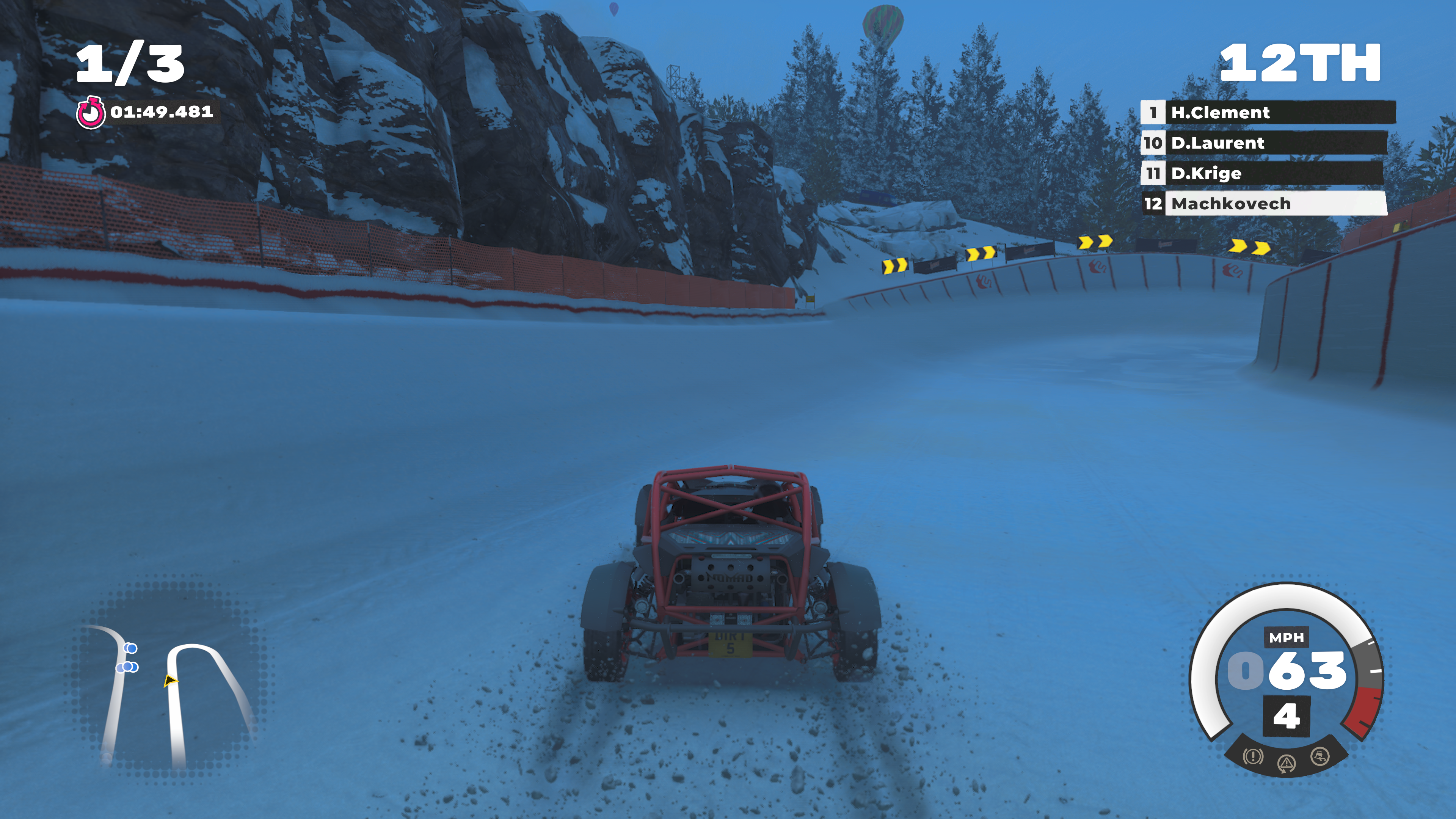 "A snow-covered <em>DiRT 5</em> racetrack in the game's ""120 fps"" mode, which scales back heavily on effects like snowy tread marks."