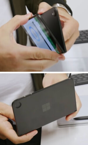 The Surface Duo prototype with a rear camera bump on one half, and a corresponding divot on the other. The final device has no rear camera.