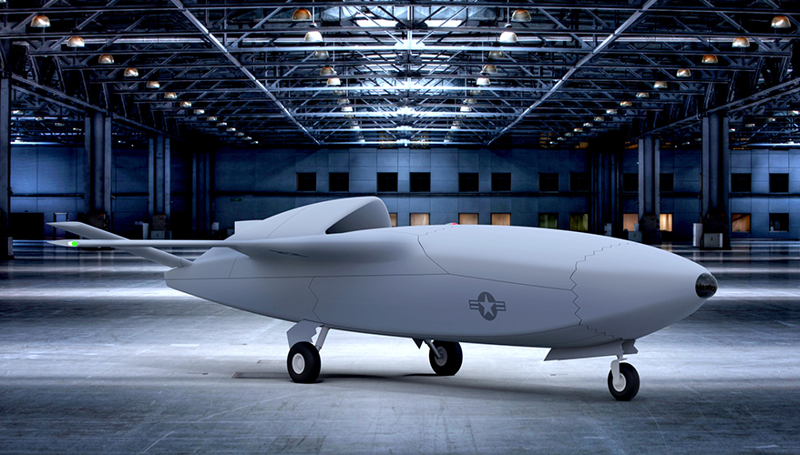 The US Air Force's rendering of a Skyborg drone.
