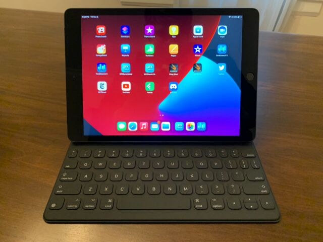 The 2020 iPad with a Smart Keyboard attachment.