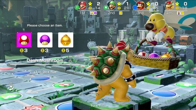 Like its predecessors,<em>Super Mario Party</em> is simultaneously a blast to play and a (playful) fight with your friends waiting to happen.