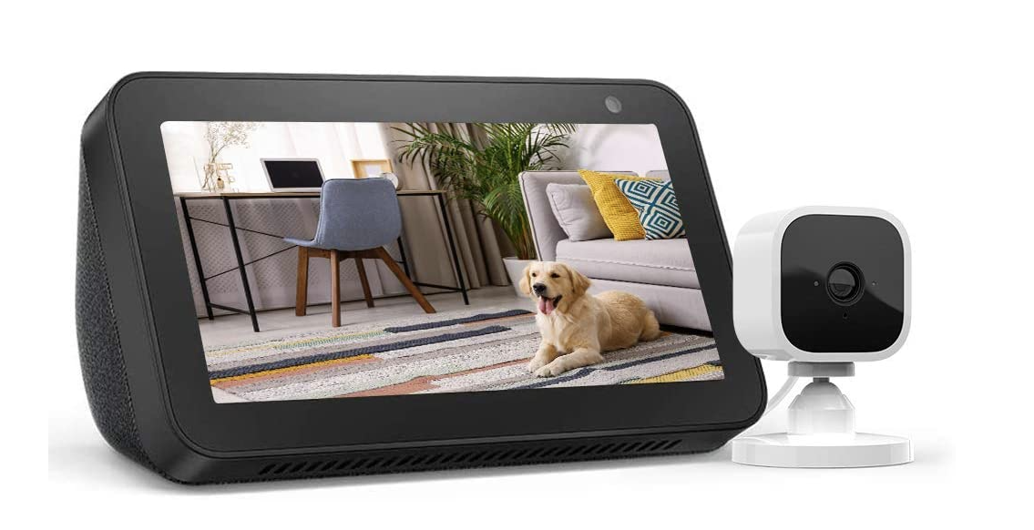 The Amazon Echo Show 5 smart display and Blink Mini security camera.