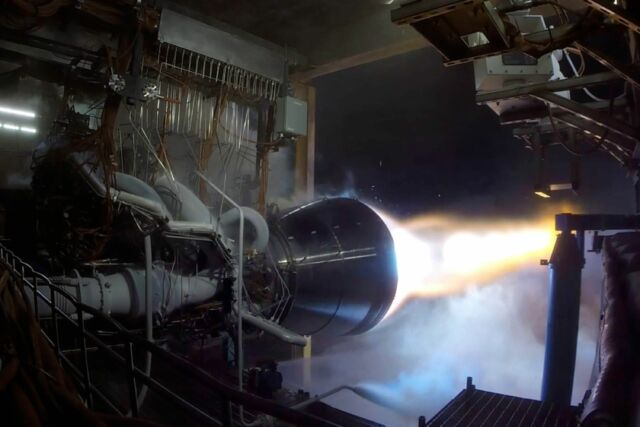 A BE-4 rocket engine undergoes tests in West Texas.