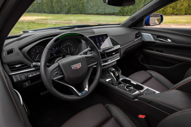 The dashboard of the 2021 Cadillac CT4-V.