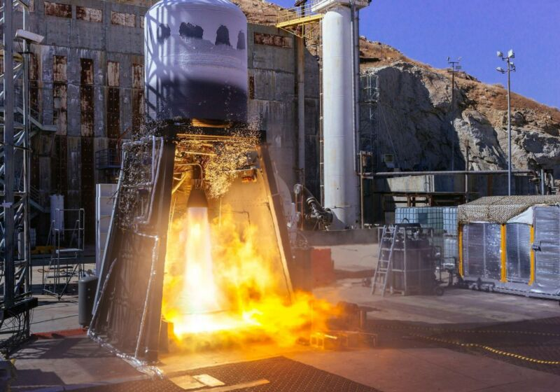 Hot fire test of integrated second stage for ABL Space System's RS1 rocket.