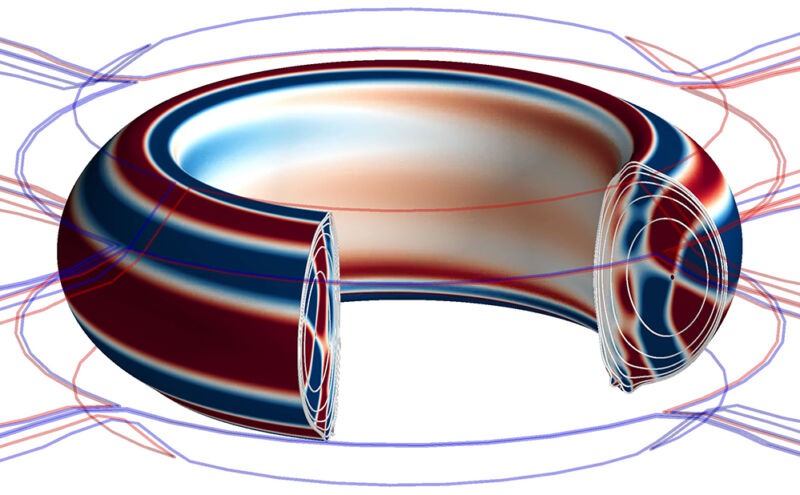 Image of a multi-colored toroid.